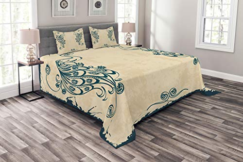 - Ambesonne Peacock Bedspread Set Queen Size, Retro Style Vintage Artwork with Peacocks Animal Ornamental Lines Classic Artful, 3 Piece Decorative Quilted Coverlet with 2 Pillow Shams, Beige Teal