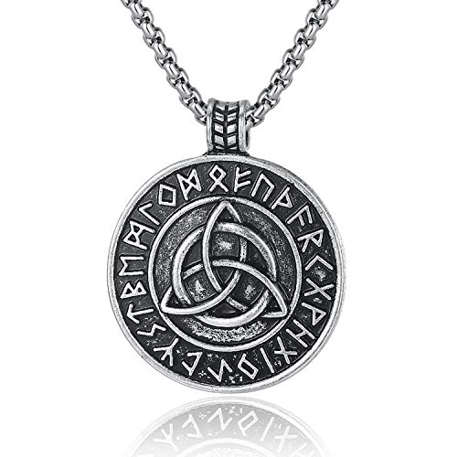 Holyheart Viking Trinity Knot Necklace, Nordic Rune Triangle Knot Pendant Necklace, Viking Triquetra Amulet Necklace, Viking Jewelry Gift for Men Unisex, Irish Knot Circle Charm Necklace