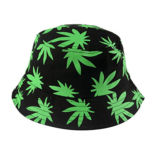 AOBRITON Summer Leaves Print Fisherman Hat Bucket Hat Hip Hop for Travel Vacation Beach by AOBRITON (Image #1)