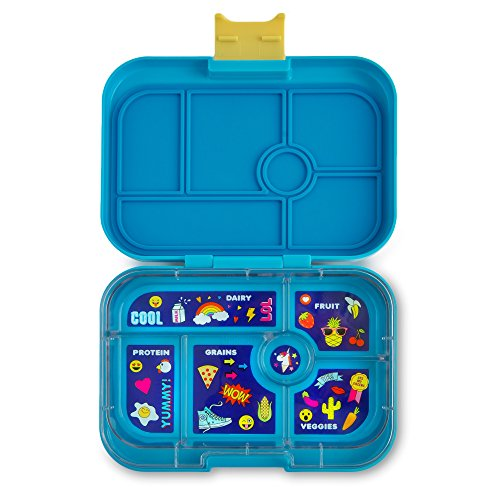 YUMBOX (Kai Blue; Emoji Tray) Leakproof Bento Lunch Box Container for Kids