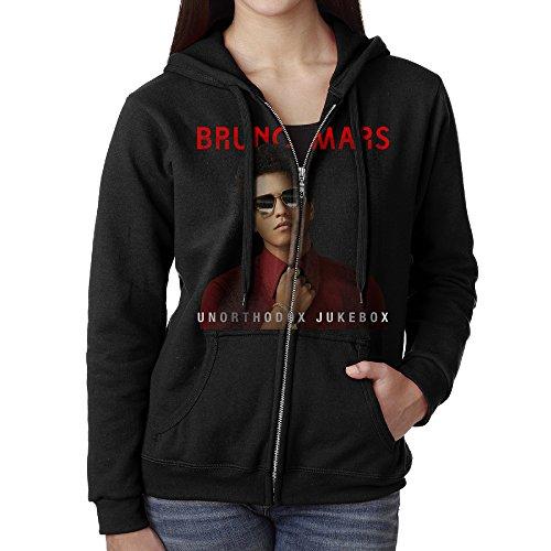 KOBT Women's Bruno Mars Unorthodox Jukebox Zip Up Hooded Sweatshirt Jackets Black