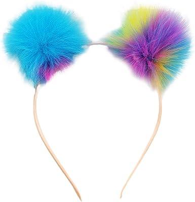 CHUANGLI Cute Ear Headband Rainbow Fluffy Ball Hair Loop Costume Pompom Ball Ear Headband