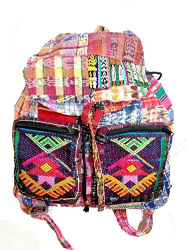 Fair-Trade-Regenbogen-Hippie Multicoloured Leinwand Patchwork-Rucksack-Spielraum-Festival-Tasche Rucksack M45