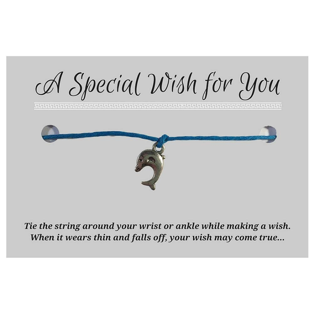 Silver Tone Charm on Printed Card Unisex Up to 12 inches Dolphin Blue Hemp Wish Bracelet