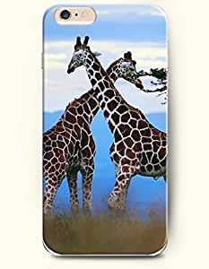 OOFIT Apple iPhone 6 Case 4.7 Inches - Two Giraffe Looking for Food