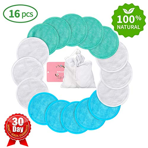 (Reusable Makeup Remover Pads Wipes 16 Packs, Reusable Cotton Pads Face Washable Organic Bamboo Cotton Rounds Toner Pads, Facial Cleansing Cloths, with Laundry Bag (3 Colors) )