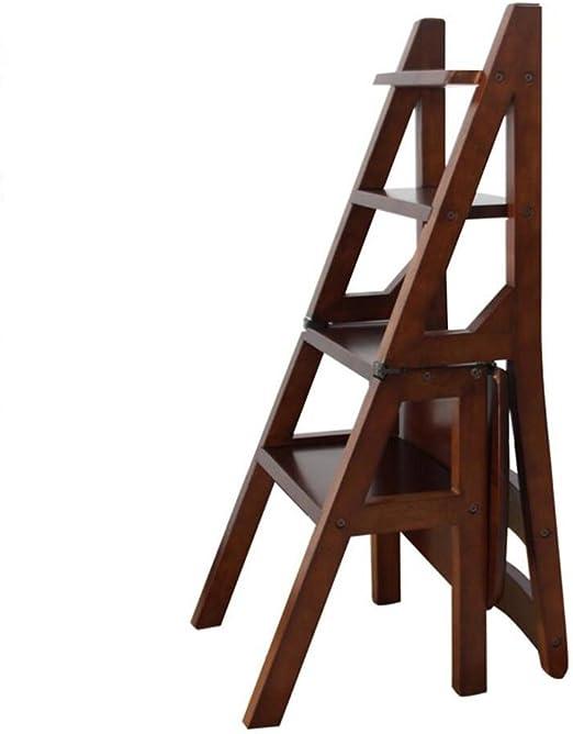 Chair Sillón Taburete de Escalera Escalera de hogar Escaleras Plegables Escalera Plegable Escalera Multifuncional de Doble Uso Taburete Alto de Madera 3 Colores, Altura 90cm Escalera Plegable Silla: Amazon.es: Hogar