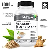Organic Black MACA Dietary Supplement Pills- Vegan, Non GMO Certified – 1000mg of Gelatinized Peruvian Black Maca Root Powder per Capsule Supports Male Health, Performance & Increase Energy Levels For Sale