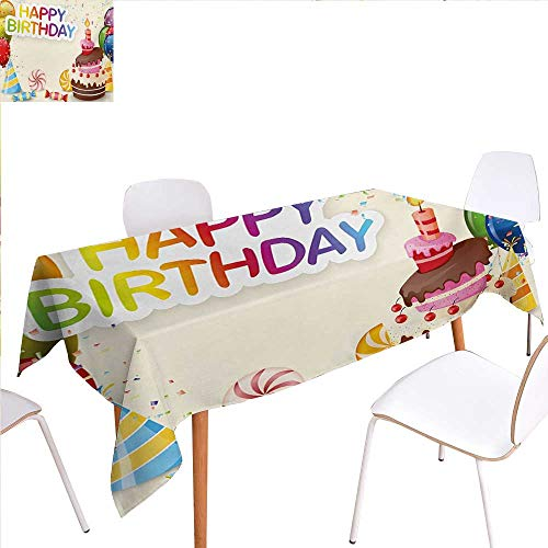 familytaste Birthday Dinning Tabletop Decoration Cute Composition of Candies Yummy Cake Confetti Party Hats Balloons Happiness Table Cover for Kitchen 52