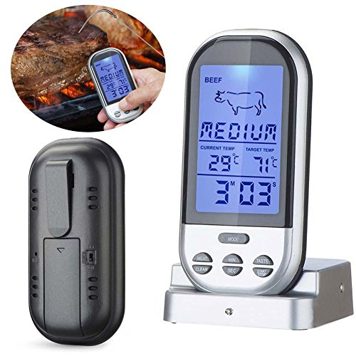 TraderPlus Wireless Remote Digital Food Meat Thermometer with Stainless Steel Probe Instant Read & Timer Alert for Kitchen Cooking BBQ Grill Smoker, from 100 Feet Away