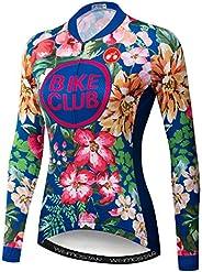 Women Cycling Jersey Long Sleeve Flowers Shirt Team Bike Clothing