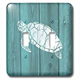 3D Rose lsp_220428_2 Turtle Stencil in White Over Teal Weatherboard-Not Real Wood Double Toggle Switch