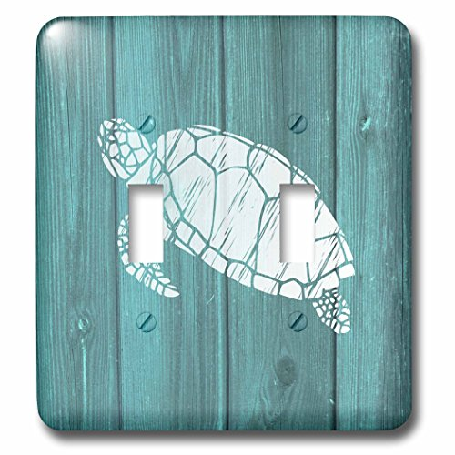 Russ Billington Nautical Designs - Turtle Stencil in White over Teal Weatherboard- not real wood - Light Switch Covers - double toggle switch (lsp_220428_2)
