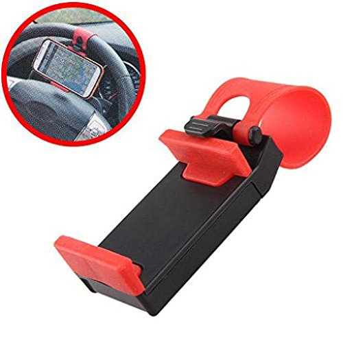 Car Mount Cradle Steering Wheel Holder Dock Stand [Black-Red] for Cricket Alcatel Idol 5S - Cricket Alcatel OneTouch Flint - Cricket Alcatel Streak - Cricket Coolpad Canvas - Cricket HTC Desire 510
