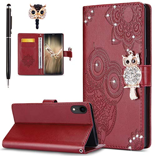 Price comparison product image ikasus Case for iPhone XR Cover, Bling Diamonds Glitter Embossing Mandala Owl PU Leather Fold Wallet Flip Stand Protective Case Cover + Dust Plug & Stylus for iPhone XR Wallet Case, Red