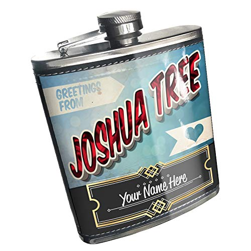 Neonblond Flask Greetings from Joshua Tree, Vintage Postcard Custom Name Stainless Steel