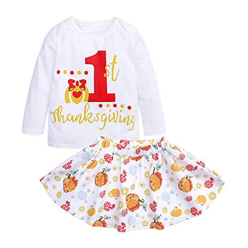 Baby Girl 1st Thanksgiving Logn Sleeve Shirt+Pumkin Tutu Skirt 2Pcs Outfits Set ()