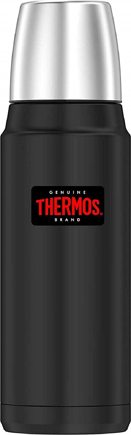 Thermos Vacuum Insulated Compact Stainless Steel Beverage Bottle (stainless steel, 16 Ounce, Black)