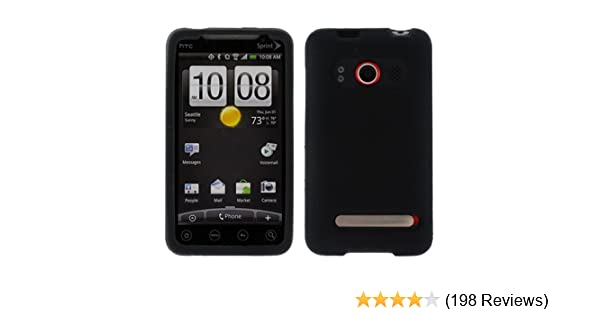 Durable Soft Rubber Silicone Skin Cover Case - Black for Sprint HTC EVO 4G  CDMA Cell Phone