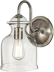 Home Decorators Collection 1-Light Brushed Nickel Wall Sconce with Clear Glass Shade