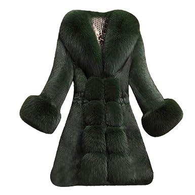 Geili Damen Mantel Winter Elegant Warm Faux Fur Kunstfell Jacke Lang  Kunstpelz Flauschiges Coat Outwear Parka 976d435f91
