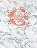Carly: Personalized Dot Grid Bullet Notebook for Women or Girls. Monogram Initial C. White Marble & Rose Gold Cover. 8.5' x 11' 110 Pages Dotted Journal Diary Pape