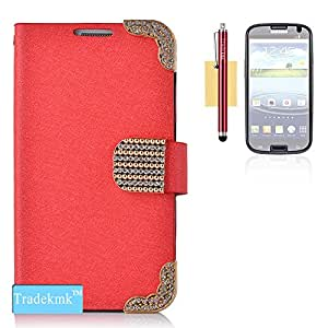 Tradekmk(TM) Fashion Leather Flip Case with Credit/ID Card Slot Protector For Samsung Galaxy S3 i9300(Red),with Stylus Pen,Screen Protector and Cleaning Cloth
