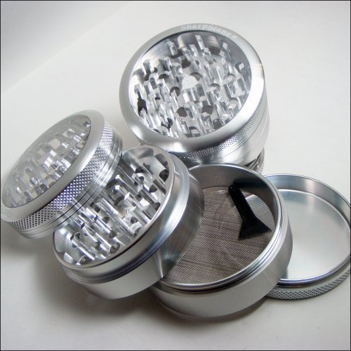 Large Silver Clear Top Sharpstone Herb Grinder + Cali Crusher® Pollen Press Combo (G16-L-S + CCP)