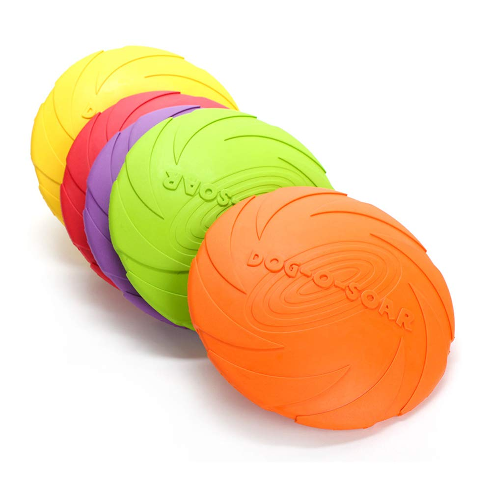 Dog Flying Disc Pet Frisbee Multifunction Dog Rubber Flying Saucer Toys Training Interactive Float Toy Suitable for All Pet Dogs Cat S Random color