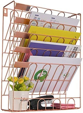 Spacrea Hanging File Holder Organizer – 6 Tier Wall Mount File Organizer for Women, Hanging Wall File for Office, School or Home, Rose Gold