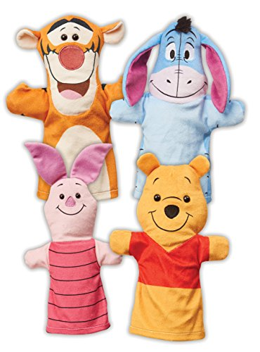 "Melissa & Doug Winnie The Pooh Hand Puppets, Puppet Sets, Pooh, Piglet, Tigger, and Eeyore, Soft Plush Material, Set of 4, 14"" H x 8.5"" W x 2"" L"