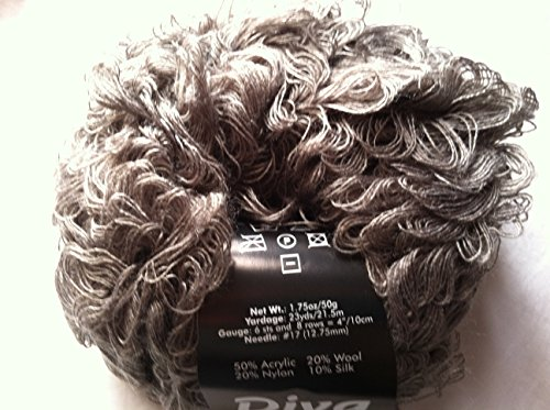 (S. Charles Collezione Diva #02 - Pewter - Gray Acrylic Wool Nylon Silk Loop Boucle Yarn 50 Gram)