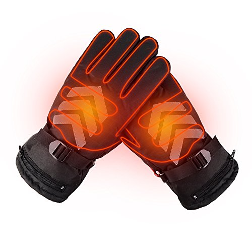 Winter Rechargeable Battery Heated Gloves Waterproof Touch Screen Motorcycle Gloves Hand Warmer for Hiking Skiing Cycling Hunting Snowboarding