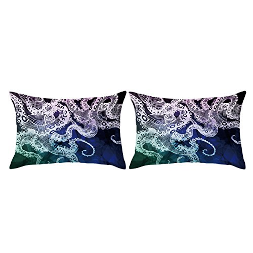 ARIGHTEX 3D Octopus Tentacle Pillow Case Set Set of 2 Nautical Ocean Blue Pillowcase Protector Kid Pillow Case Soft (3D Octopus Tentacles, King 20