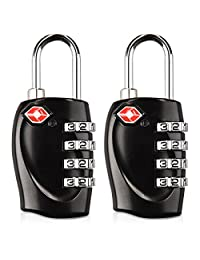 kwmobile 2X TSA Approved Luggage Locks - 4 Digit Combination Bag Padlock Code