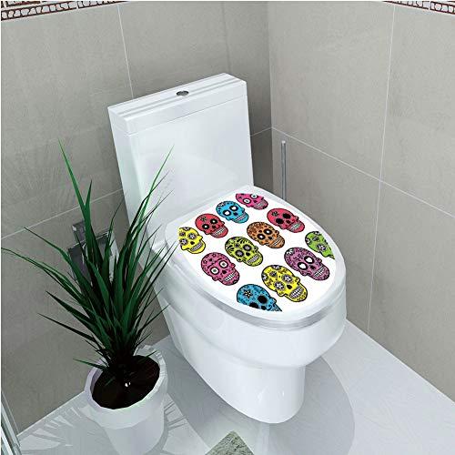 Toilet Custom Sticker,Skull,Ornate Colorful Traditional Mexian Halloween Skull Icons Dead Humor Folk Art Print,Multi,Diversified Design,W12.6