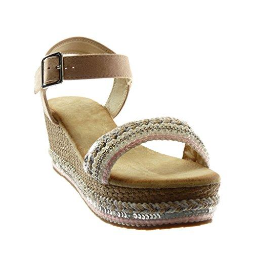 Angkorly Damen Schuhe Sandalen Mule - Knöchelriemen - Plateauschuhe - Perle - String Tanga - Geflochten Keilabsatz High Heel 7 cm Hellrosa