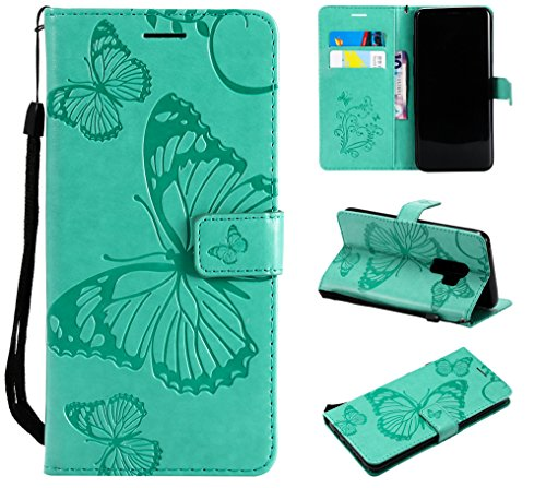 Price comparison product image NOMO Galaxy S9 Plus Case, Galaxy S9 Plus Wallet Case, S9 Plus Case with Card Holders, Folio Flip PU Leather Butterfly Case Cover with Card Slots Kickstand Phone Case for Samsung Galaxy S9 Plus, Green