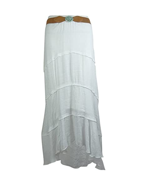 454afee49 BCX Women's Belted Hi-Low Skirt (XS, Off White) at Amazon Women's Clothing  store:
