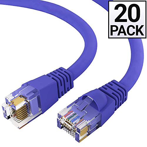 GOWOS Cat6 Ethernet Cable (20 Pack - 0.5 Feet) Purple - 24AWG Network Cable with Gold Plated RJ45 Snagless/Molded/Booted Connector - 10 Gigabit/Sec High Speed LAN Internet/Patch Cable - ETL Listed