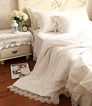 HOMIGOO White Lace Bed Sheet Set Pure Cotton Fitted Sheet Twin