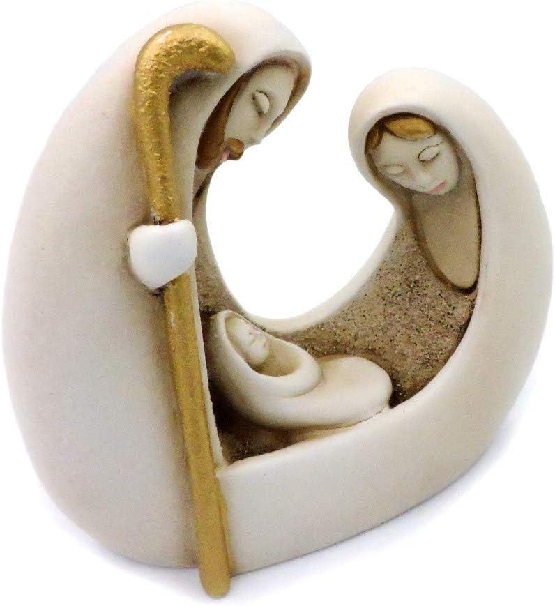 Rafael DAndr/è by Argenteria MB Sculpture en r/ésine pour cr/èche de Sainte Famille avec finition bicuit et d/étails peints /à la main 8 x 7 cm