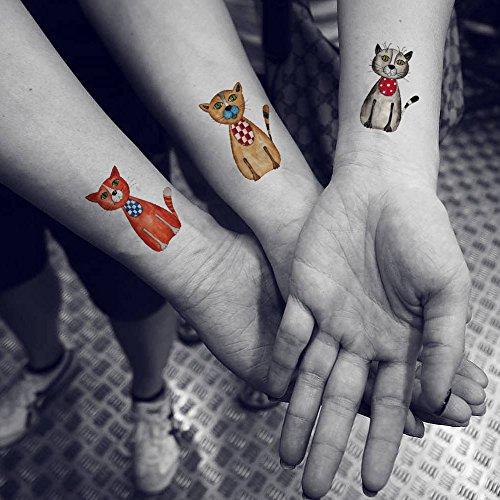 TAFLY Cute Cat Temporary Tattoo Stickers Waterproof Fake Tattoo 5 Sheets