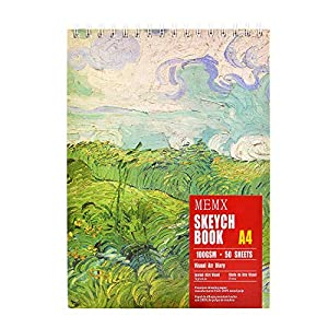 "MEMX 8""X11.5"" Sketch Book, 100 Pages (110gsm), Spiral Bound Artist Sketch Pad, Durable Acid Free Drawing Paper for Drawing, Writing, Painting, Sketching or Doodling, White"