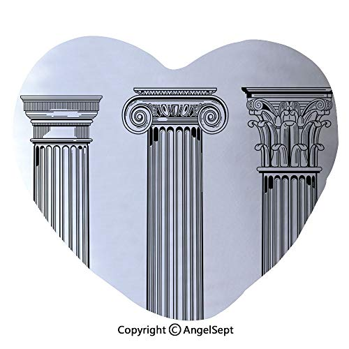 45x50cm Heart Shape Decorative Throw Pillow Antique Theme Column Capitals Illustration Ancient Architecture Pattern PP Cotton Soft Creative Lover Gift,Black and White