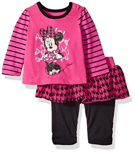 Disney Baby-Girls Newborn Minnie Mouse 2 Piece Stripe Skegging Set, Rosey Ring, 0-3 Months