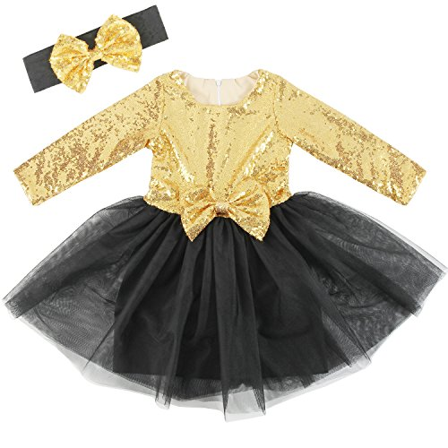 Cilucu Flower Girls Dresses Kids Sequin Tulle Birthday Dress Prom Aline Gown with Long Sleeve Gold/Black 0-6months