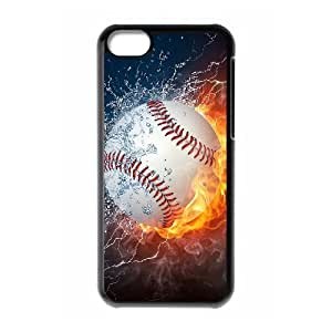 Custom Hard Plastic Back Case Cover for iPhone 5C with Unique Design fire baseball