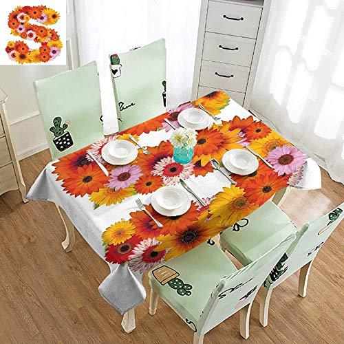 DILITECK Waterproof Tablecloth Letter S Organic Color Palette Gerbera Bouquet Natural Looking Petals Letter S Alphabet Table Decoration W70 xL102 Multicolor