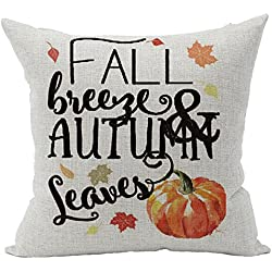 Pumpkin Maple Leaves Happy Fall Autumn Happy Thanksgiving Halloween New Room Sofa Car Decorative Cotton Linen Throw Pillow Case Cushion Cover Square 18 X 18 Inches